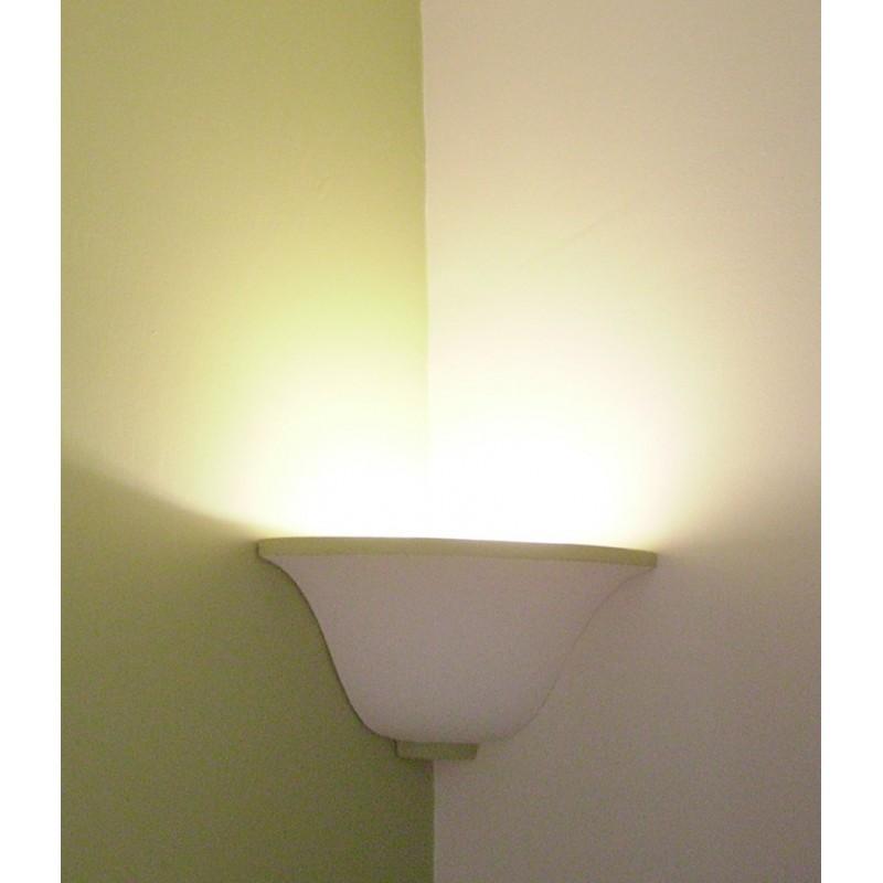 lotus shaped lamp in plaster for corner