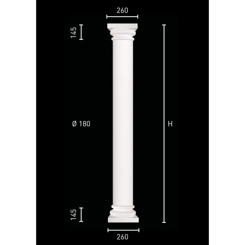 Plaster column with pillar of 18 cm in diameter
