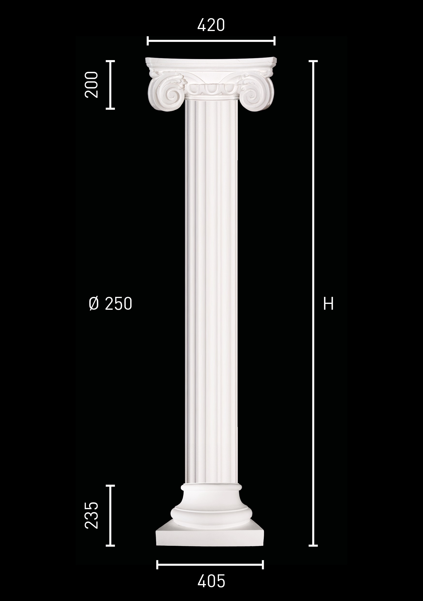Plaster Column With Fluted Pillar Of 25 Cm In Diameter Ionic Capital And Clical Pedestal