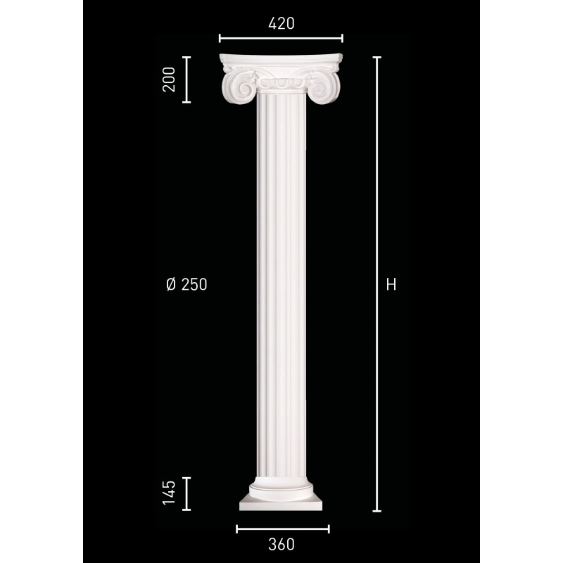 Plaster column with pillar of 25 cm in diameter
