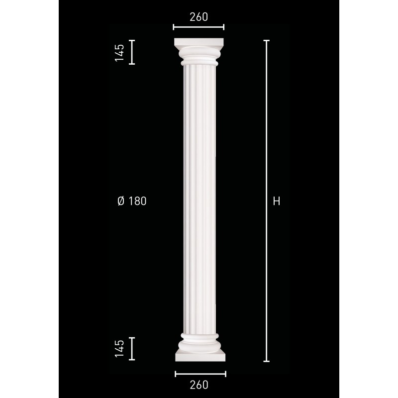 Column with grooved pillar and identical pedestal and capital