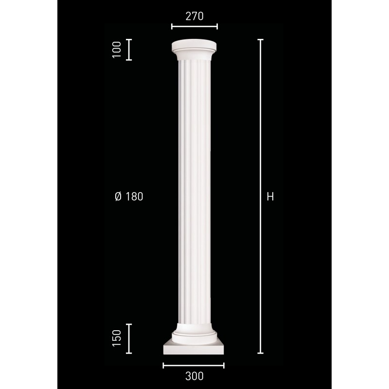 Colonna in gesso con fusto di 18 cm
