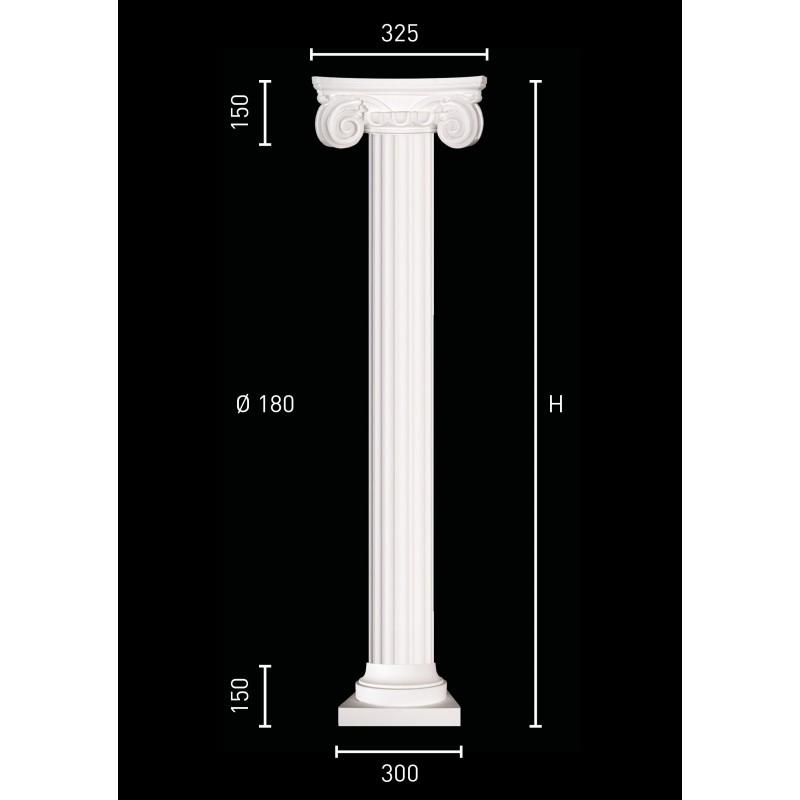 Colonna ionica scanalata con base quadrata
