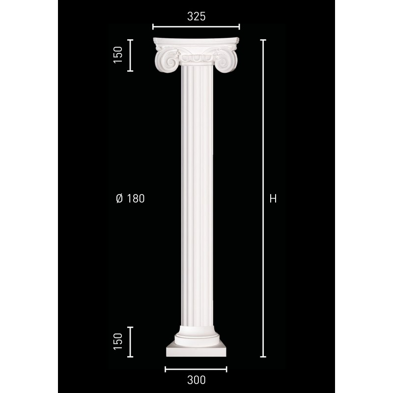 Plaster column with fluted pillar of 18 cm in diameter for Fluted pedestal base