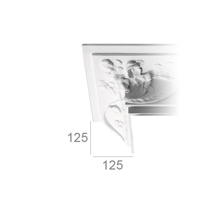 """Corniche de plafond ornée 455 """"à la rose"""""""